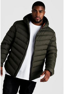 Khaki Big & Tall Quilted Zip Jacket With Hood