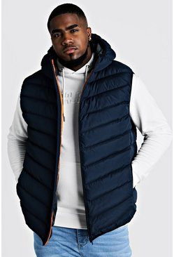 Mens Navy Big & Tall Quilted Zip Through Gilet With Hood