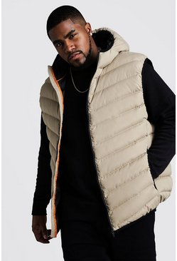 Mens Stone Big & Tall Quilted Zip Through Gilet With Hood
