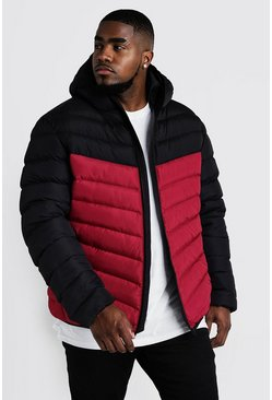 Mens Red Big & Tall Quilted Zip Jacket With Colour Block