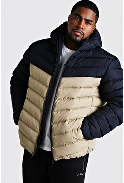 Stone Big & Tall Quilted Zip Jacket With Colour Block