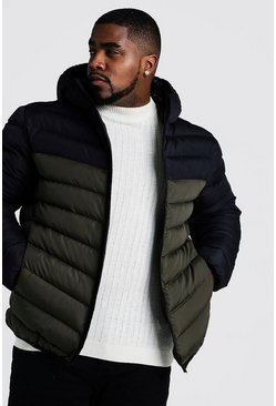 Mens Khaki Big & Tall Quilted Zip Jacket With Colour Block