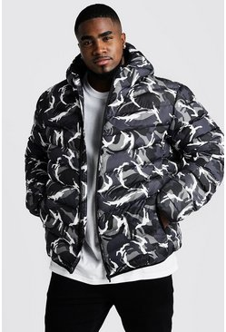 Mens Big & Tall Quilted Zip Jacket With Camo Print