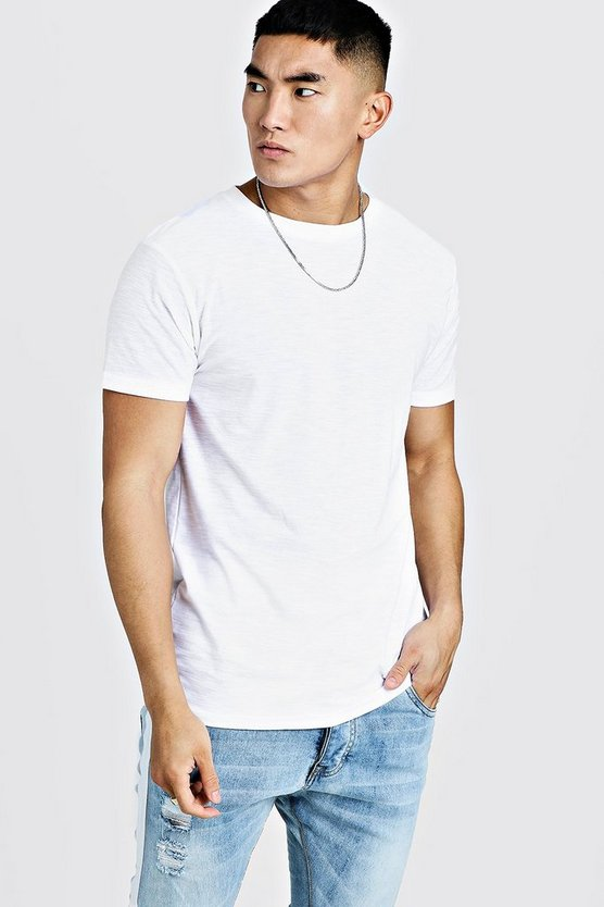 Mens White Slub Crew Neck T-Shirt