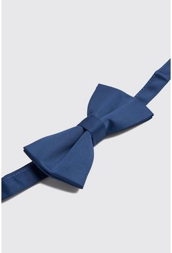 Mens Navy Satin Bow Tie