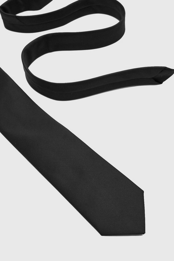 Mens Black Satin Tie