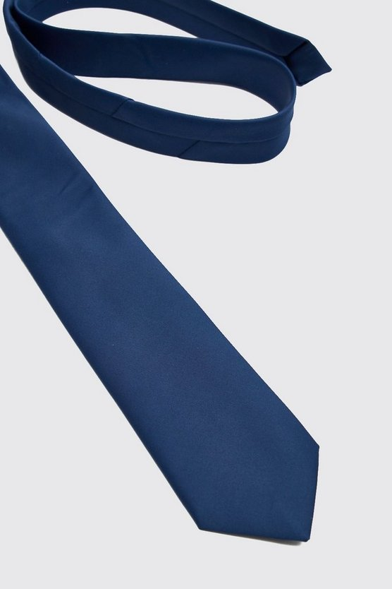 Mens Navy Satin Tie