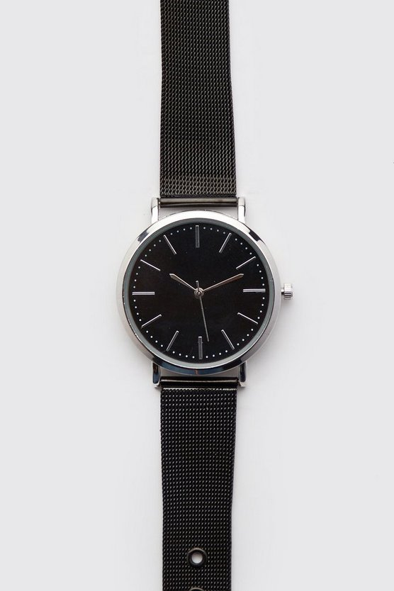 Mens Black Gun Mesh Strap Watch