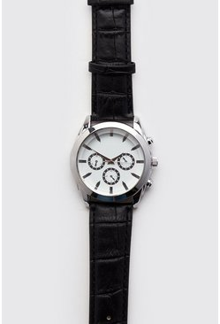 Mens White Croc Effect Classic Watch