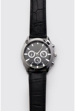 Mens Black Croc Effect Classic Watch