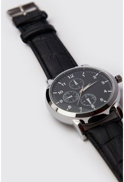 Mens Black Multi Dial Classic Watch