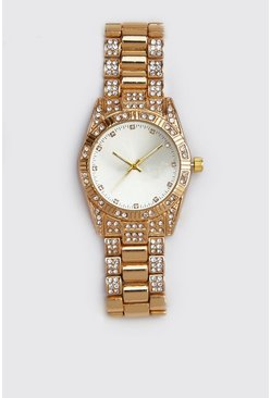 Mens Gold Diamante Bracelet Strap Watch
