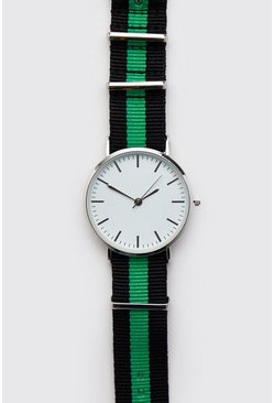Mens Green Sport Tape Nylon Watch