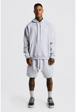 Mens Grey MAN Aesthetics Oversized Short Tracksuit