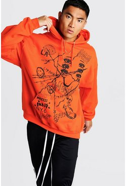 Mens Orange Oversized Printed Neon Hoodie