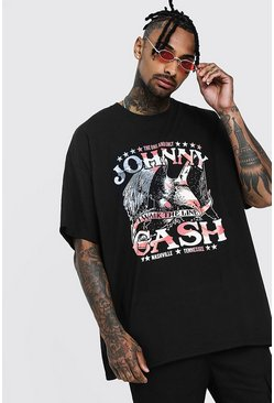 Mens Black Oversized Johnny Cash License T-Shirt