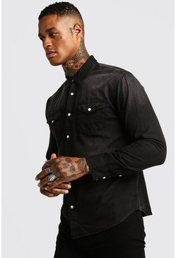 Washed Black Denim Shirt, HOMMES