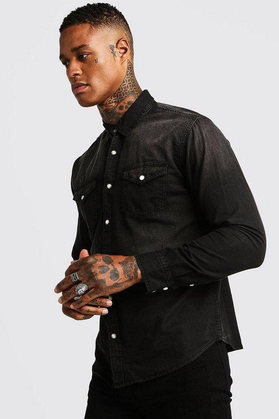 Washed Black Denim Shirt by Boohoo Man