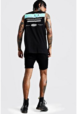 Mens Black MAN Drop Armhole Tank With Back Print