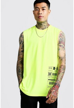 Mens Neon-yellow MAN Drop Armhole Print Tank