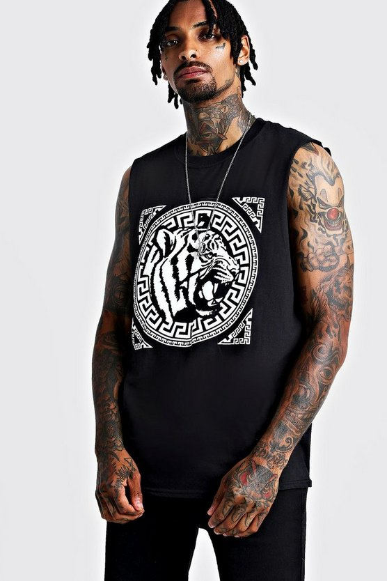 Mens Black Front Print Tiger Graphic Drop Armhole Tank