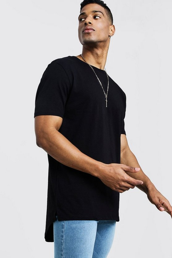 Longline T-Shirt With Drop Tail, Black, Homme