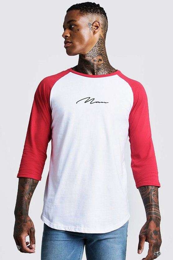 Mens Red MAN Signature Raglan T-Shirt With 3/4 Sleeve