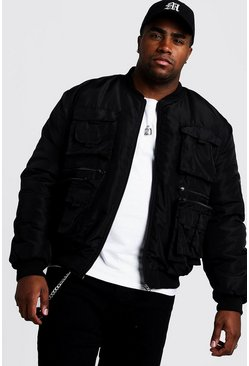 Mens Black Big & Tall Utility Bomber