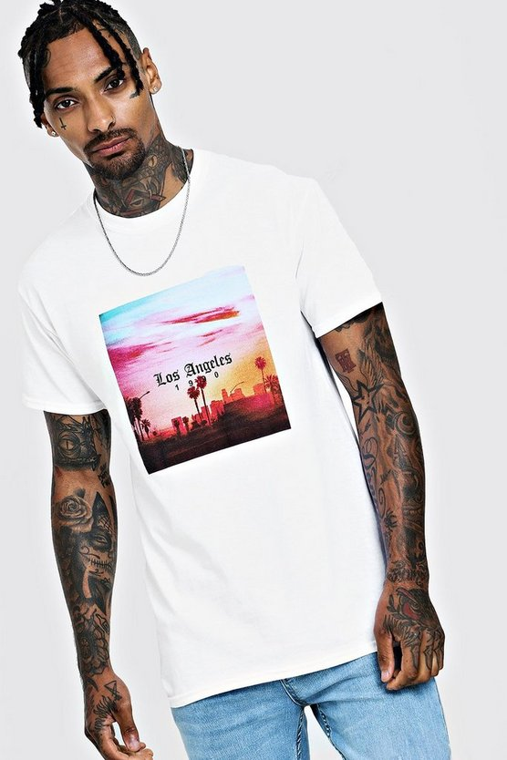 Los Angeles Palm Tree T-Shirt, White, HOMMES