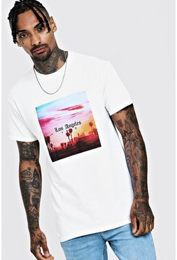 Mens White Los Angeles Palm Tree T-Shirt