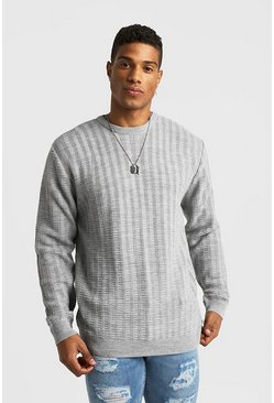 Mens Light grey Ladder Stitch Crew Neck Knitted Sweater