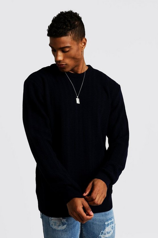 Mens Navy Ladder Stitch Crew Neck Knitted Sweater