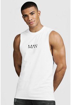 Mens White Original MAN Print Drop Armhole Tank