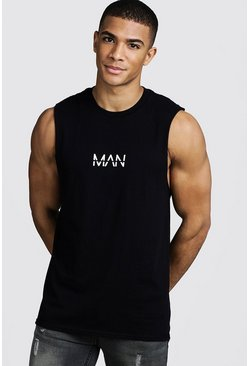 Mens Black Original MAN Print Drop Armhole Tank