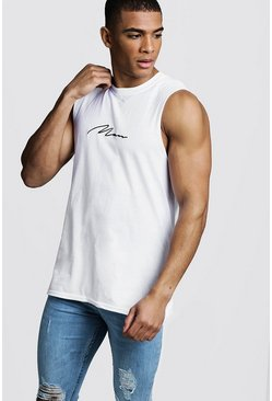 MAN Signature Drop Armhole Tank, White, HOMMES