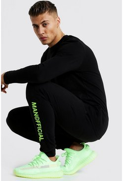 Slim Fit Joggers With Neon MAN Official Print, Black, HOMMES