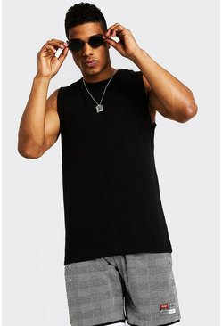 Mens Black Drop Armhole Tank