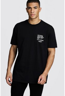Oversized MAN Limited Edition Printed T-Shirt, Black, HOMMES
