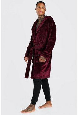 Mens Burgundy MAN Embroidery Soft Fleece Robe