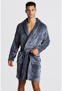 Mens Grey Shawl Collar Soft Fleece Embroidered Robe