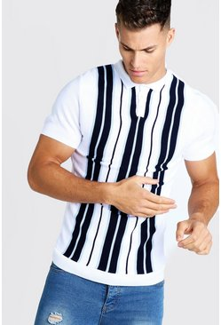 Mens Navy Striped Knitted Polo