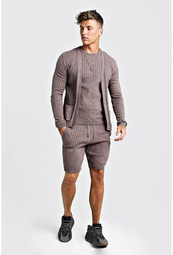 Mens Taupe Ribbed 3 Piece Knitted Short Set