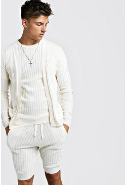 Mens Cream Ribbed 3 Piece Knitted Short Set