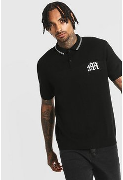 Mens Black Gothic M Knitted Polo With Tipping