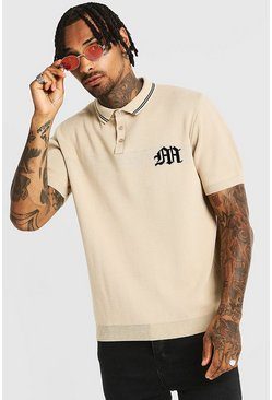 Gothic M Knitted Polo With Tipping, Stone, HOMMES
