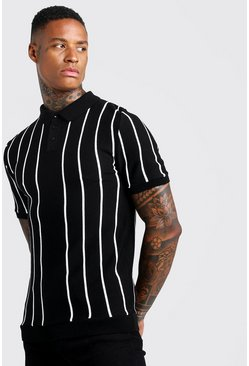 Mens Black Pinstripe Knitted Polo