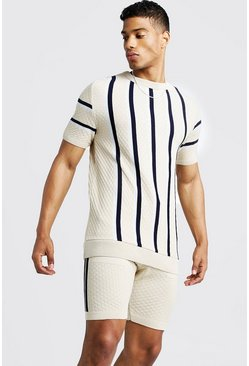 Mens Stone Striped Knitted T-Shirt & Short Set
