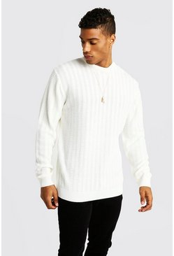 Mens Cream Ladder Stitch Crew Neck Knitted Jumper