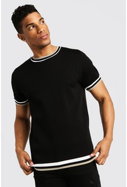 High Neck Knitted T-Shirt With Tipping, Black, HOMMES
