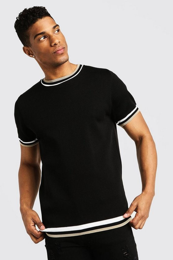 Mens Black Knitted T-Shirt With Tipping